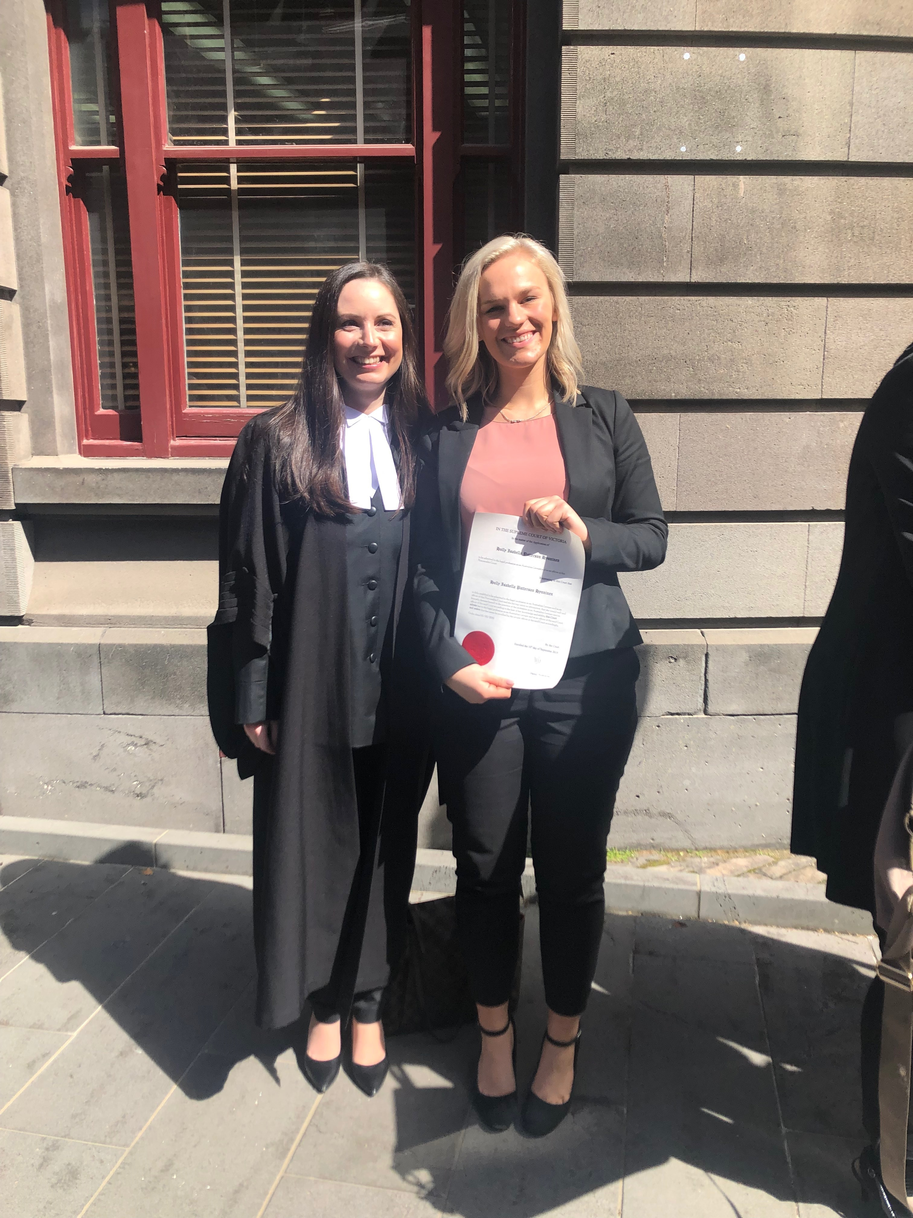 Congratulations to Holly Hynninen on her admission into legal practice – 10 September 2019